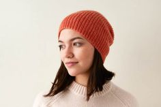 Classic Ribbed Hat | Purl Soho Slouch Hat Knit Pattern, Beanie Knitting Patterns Free, Knit Beanie Hat, Knitting Stitches, Hand Knitting, Slouch Hats, Knitted Hats, Crochet Hats, Crochet Granny