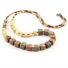 Medium-long, multi-gemstone, asymmetrical, boho necklace / Made with unakite, jadeite, glass and brass beads / By Artigiana Designs - my original design / #jewelry #handmade #necklace #boho #multigemstone #green #brown #artigianadesigns