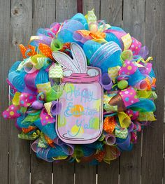 Cute and colorful Easter wreath.  |  Our Inspired Creations on Etsy