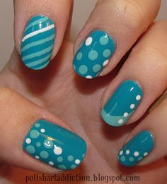 Super cute.! How to-- Use a bobby pin for the polka dots, the stripes: you need to get a nail polish in those colors that have the thin brush for designs, and use a piece a tape for perfect french manicures.