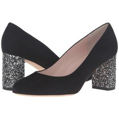 Kate Spade New York Anastasia (Black Kid Suede/Glitter Heel) High... ($298) ❤ liked on Polyvore featuring shoes, pumps, almond toe pumps, high heel shoes, black pumps, black high heel pumps and black shoes