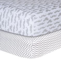 Mustache and Chevron Print Flannel 2 Piece Crib Sheet Set