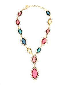 Y1VW6 R.J. Graziano Multicolor Marquise Crystal Necklace