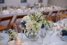 Centerpieces Blue & White at Our wedding in #Seaside Florida