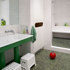 222 Kids Bathroom Vanities, kids bathroom accessories, kids bathroom decor ~ Home Design Childrens Bathroom, Bathroom Kids, White Bathroom, Green Bathrooms, Bathroom Shop, Family Bathroom, Design Bathroom, Kids Bath, Basement Bathroom