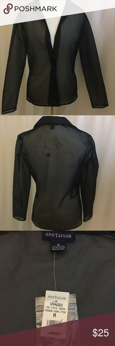 "NWT Ann Taylor sheer blazer Dry clean only. 67% acetate, 33% polyester. Measurements: pit to pit 19"", sleeves 23 1/2"", full length 26"" Ann Taylor Jackets & Coats Blazers"