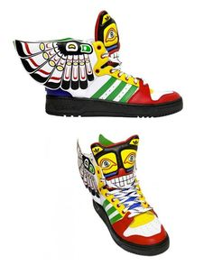 """#Adidas Originals #JeremyScott 2013 Jeremy Scott x adidas Wings 2.0 """"Totem"""" feature Scott's aesthetics mixed with a touch of Native American tribal design."""
