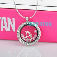 Silver Heart Living Memory Floating Charm Locket Arrow Pink Pendant Necklace