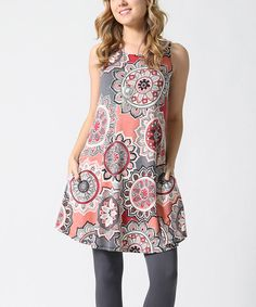 Look at this Mauve & Gray Medallion Pocket Scoop Neck Tunic on #zulily today!