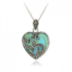 Women's #Fashion #Jewelry:  Sterling Silver Marcasite Turquoise Heart Pendant Necklace