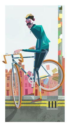 London Cyclist - illustration by Robert Ball