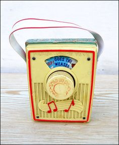 Vintage FISHER PRICE Wind-up Music Box. Pop goes the Weasel. I even remember the feel of the plastic handle!!