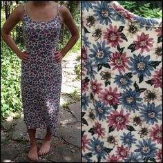 """90s grunge floral midi summer dress Vintage 90s grunge mid length ribbed  summer tank dress. The tag size is 11/12, but it fits more like a size 8 (check measurements). it has a nice stretch to it. Measurements taken laying flat: armpit to armpit: 16"""" length(shoulder strap to hem): 46"""" looks really cute with a vintage Levi's denim jacket. Vintage Dresses"""