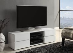 Contemporary White Tv Stand CST-700825 $169