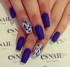 Flat matte royal blue nails♡