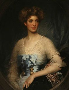 Portrait of Lady Edith Villiers (1878–1935), Wearing a Blue Satin Gown by William Samuel Henry Llewellyn (British 1858-1941)