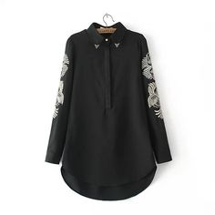 Aliexpress.com : Buy New Design Women Long Blouse Long Sleeve Loose Shirt Front Short Back Long Blouse Elegant Embroidery Shirt Casual Tops EF104 from Reliable Blouses & Shirts suppliers on Friends of the Shanghai International Trade Co. Creek   Alibaba Group
