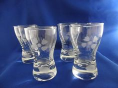 Bottoms up!  Set of 4 Elegant Cordial Glasses  Etched by TheMichiganAttic