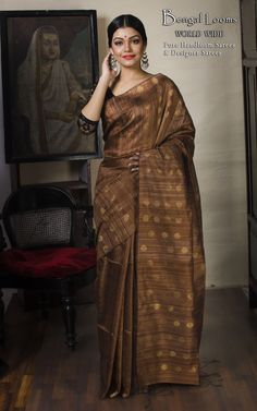 Khadi Motka Silk Saree  Available For Sale From Bengal Looms