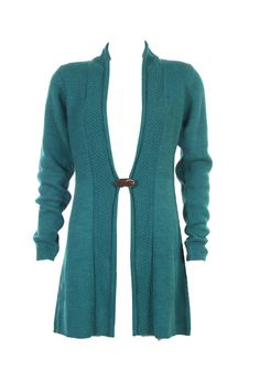 """""""Knit Sturcture Mix Cardigan In Teal Green; Acro Wool; Front Clasp Detail; 34.5"""" In Length"""" Outer Wear #Clothing #Fashion #Style #Wear #Colors #Apparel #SemiFormal #Casuals #W for #Woman"""