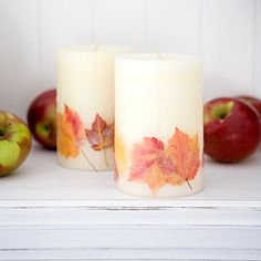 A complete tutorial on how to embed real Fall leaves on pillar candles, for stunning home decor and preservation of your leaves.