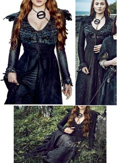 Sansa Stark black dress. http://celebmafia.com/sophie-turner-entertainment-weekly-april-2016-photos-504138/