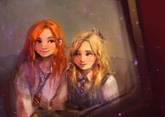 Ginny and Luna on the Hogwarts Express ❤️💙 art by via DeviantArt Harry Potter Couples, Images Harry Potter, Harry Potter Drawings, Harry Potter Ships, Harry Potter Fan Art, Harry Potter Universal, Harry Potter Fandom, Hogwarts, Luna Lovegood