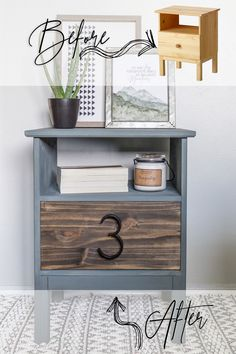 Here is a super simple & cheap DIY nightstand project using an IKEA Tarva Nightstand & Minwax Special Walnut Stain. Grey Bedroom Furniture, Retro Furniture, Furniture Decor, Luxury Furniture, Furniture Stores, Furniture Buyers, Refurbished Furniture, Furniture Companies, Furniture Websites