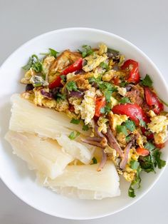 Yuca + Eggs Red Peppers, Cilantro, Good Food, Make It Yourself, Eggs, Red Bell Peppers, Egg, Healthy Food, Egg As Food