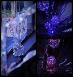 światło, dekoracje, lampa, lampka, nastrój, kwiaty, bukiet