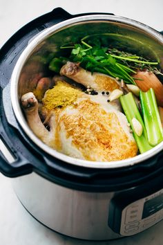 Learn how to make one hour pressure cooker chicken broth. This is an easy recipe that teaches you how to make chicken broth in the pressure cooker.