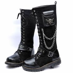 Mens Black Chain Skull Above Knee High Punk Goth Biker Boots on Sale ...