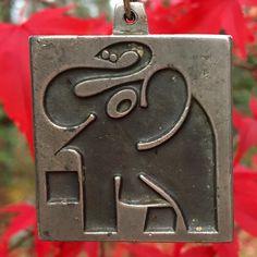 Pewter, Scandinavian, Vintage Jewelry, Elephant, Pendant, Tin Metal, Tin, Trailers, Vintage Jewellery