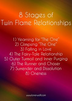 """8 Stages of Twin Flame Relationship - """"1) Yearning for """"The One"""" 2) Glimpsing """"The One"""" 3) Falling in Love 4) The Fairy-Tale Relationship 5) Outer Turmoil and Inner Purging 6) The Runner and Chaser 7) Surrender and Dissolution 8) Oneness"""""""