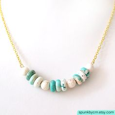 Turquoise White Magnesite Gold Chain Minimalist by SPUNKbyCM, $25.00