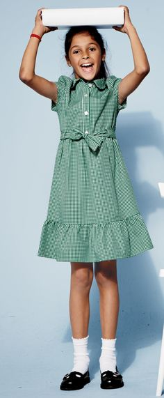 Green school summer dress zip extractor