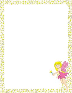 A printable page border with stars and a fairy. Free downloads at http://pageborders.org/download/fairy-border/