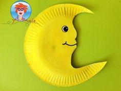 Maan van wegwerpbord - knutselen met kinderen - Juf Jannie