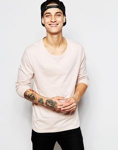 ASOS Long Sleeve T-Shirt With Scoop Neck In Pink