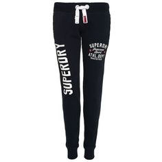 Superdry Trackster Joggers (100 CAD) ❤ liked on Polyvore featuring activewear, activewear pants, navy, women, vintage sportswear, superdry and logo sportswear