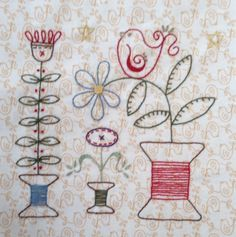 The Splendid Sampler – Stitch in the Garden - Stickerei Ideen Hand Embroidery Patterns, Cross Stitch Embroidery, Quilt Patterns, Machine Embroidery, Embroidery Designs, Primitive Embroidery, Sampler Quilts, Embroidery Techniques, Sewing Crafts