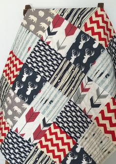Baby Quilt, Boy, Moose, Bow and Arrow, Stag, Woodland,Birch Forest, Deer, Navy, Red, Gray, Modern,Crib Bedding, Baby Bedding, Children by CoolSpool on Etsy https://www.etsy.com/listing/242531411/baby-quilt-boy-moose-bow-and-arrow-stag