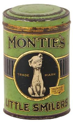 "Montie's Cigar Tin ""Little Smilers""  with trademark dog on front"
