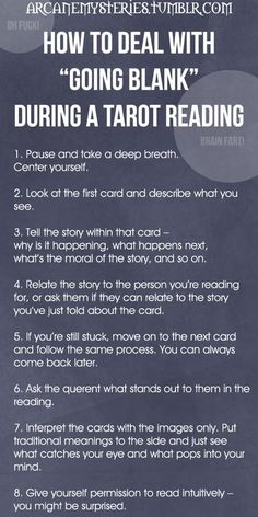 "Tarot Tips https://arcanemysteries.tumblr.com/ How To Deal With ""Going Blank"" During A Tarot Reading."
