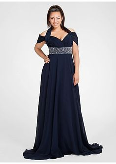 Off-the-shoulder Sweep Chiffon Bead Plus Size Prom Dresses/ Mother Of The Bride Dresses DIB1381286