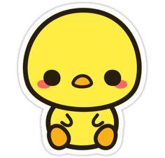 'Cute chick' Sticker by peppermintpopuk Cute Animal Drawings Kawaii, Cute Kawaii Animals, Cute Little Drawings, Cute Cartoon Drawings, Cute Easy Drawings, Griffonnages Kawaii, Arte Do Kawaii, Stickers Kawaii, Cool Stickers