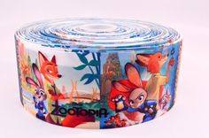 "3"" Wide Zootopia Scenes Printed on Grosgrain Cheer Bow Ribbon"
