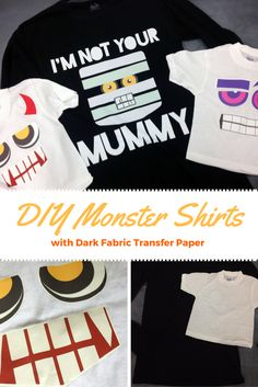 Custom Halloween t-shirts are super fun and easy to make with dark fabric transfer! Super fun Halloween time craft for kids.