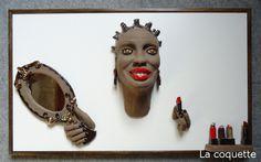 La coquette  - sculpture on wooden panel  Vio by Infantellina Contemporary Berlin