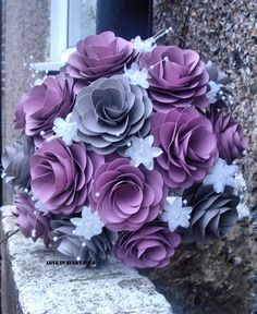 Handmade Medium Paper Flower Bouquet Vintage Pink and Grey theme. Paper Wedding Bouquet for Bride or Bridesmaids. via Etsy. Paper Flowers Craft, Crepe Paper Flowers, Flower Crafts, Diy Flowers, Fabric Flowers, Flower Art, Paper Crafts, Wedding Table Centerpieces, Flower Centerpieces